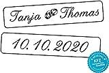 liebesmasche Original KFZ-Kennzeichen Hochzeit Autoschilder Hochzeitsschilder Namensschilder mit Datum, Namen und Ringe 0192-0001