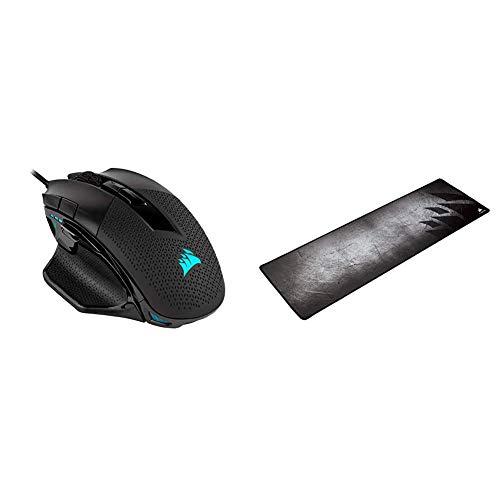 Corsair Nightsword RGB, Performance Tunable FPS/MOBA Gaming Mouse, Black, Backlit RGB LED, 18000 DPI, Optical & MM300 - Anti-Fray Cloth Gaming Mouse Pad, Multi Color