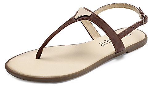 SANDALUP Women' s Gladiator Thong Sandals Flat Sandals Blue 05