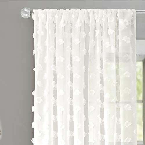 DriftAway Olivia White Voile Chiffon Sheer Window Curtains Embroidered with Pom Pom 2 Panels Rod Pocket 52 Inch by 63 Inch Off White