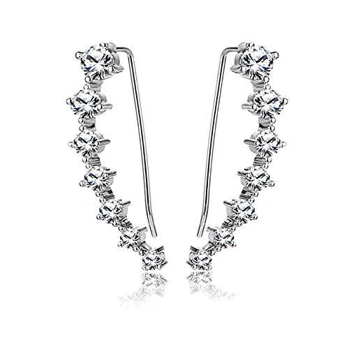 7 orejeras de cristal, pendientes de tuerca con rosca Cz para niñas adolescentes-Pendientes de orejeras para mujeres Moda, niñas y preferencia de mujeres