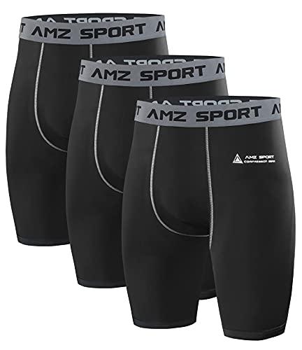 AMZSPORT Pantaloncini Compressione Uomo, 3 Pezzi Pantaloni Corti Palestra Shorts Sportivi Traspirante per Running Ciclismo, M