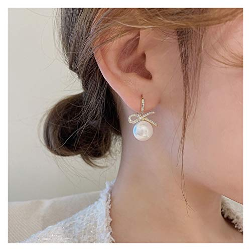 OMING Earring Bowknot Pearl Earrings Female 925 Sterling Silver Natural Gas High-end Earrings Fashion Light Luxury Trend Women's Earrings