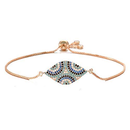 Trendy Turkish Evil Eye Bracelet Pave Cz Blue Eye Chain Bracelet Adjustable Female Party Jewelry
