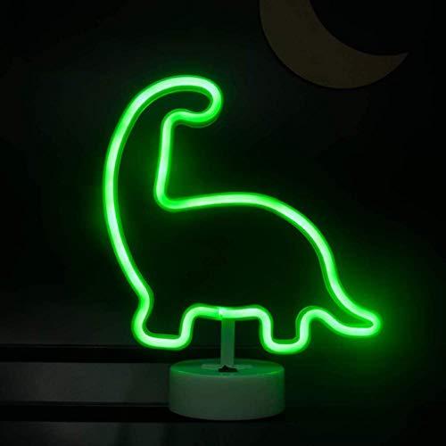 Forma de Dinosaurio Verde Luz de Noche de Neón LED Lámpara de Mesa con Base USB y Alimentado por Batería Luces de Noche de Decoración de Neón Ilumina la Barra Del Club de la Sala de Fiestas