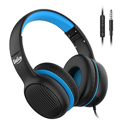 gorsun Premium A66 Kids Headphones with 85dB/94dB Volume Limited, in-line HD Mic, Audio Sharing, Foldable Toddler Headphones, Adjustable, Children Headphones Over-Ear for School Travel, Blue Black
