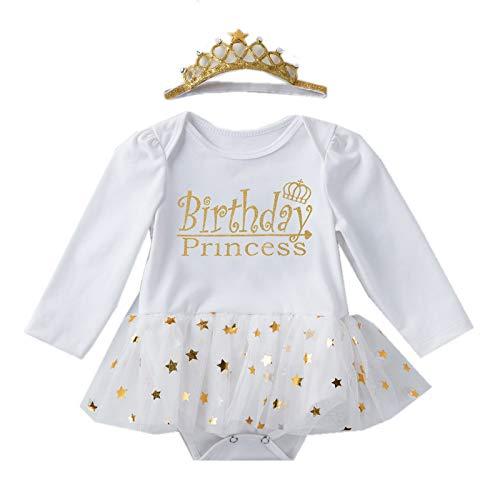 KJK 2 piezas para bebés y niñas, vestidos de cumpleaños de algodón de manga larga + corona diadema lentejuelas vestido princesa sesión de fotos disfraz