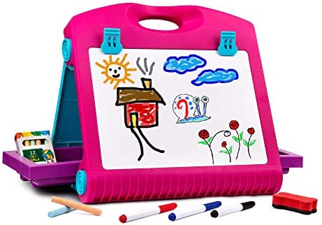 Playkidiz Art Double Sided Tabletop Art Easel for Kids 2 in 1 Dry Erase Board and Chalkboard product image