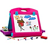 Playkidz Art Double Sided Tabletop Art Easel for Kids, 2-in-1 Dry Erase Board and Chalkboard, Great Coloring Easel for Boys and Girls.
