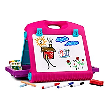 Playkidiz Art Double Sided Tabletop Art Easel for Kids 2-in-1 Dry Erase Board and Chalkboard Great Coloring Easel for Boys and Girls.
