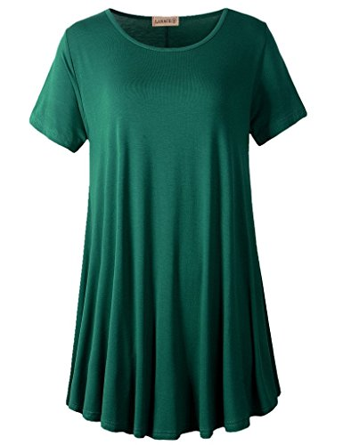 LARACE Women Short Sleeves Flare Tunic Tops for Leggings Flowy Shirt (1X, Deep Green)