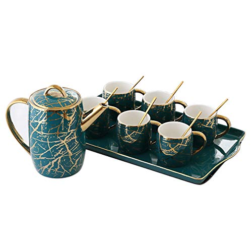 WLGQ Set da tè Europeo Creativo Inchiostro Phnom Penh Linea Oro Verde con Cucchiaio d'oro Tazza da caffè Set da caffè Teiera Ceramica Bone China Afternoon Tea Party