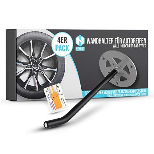 Universale Reifen Wandhalterung im 4 er Set - platzsparende Aufbewahrung Ihrer Autoreifen - inkl. Reifenprofilmesser - Optimaler Wandhalter auch für Leitern, Werkzeug, usw. - Premium Qualität