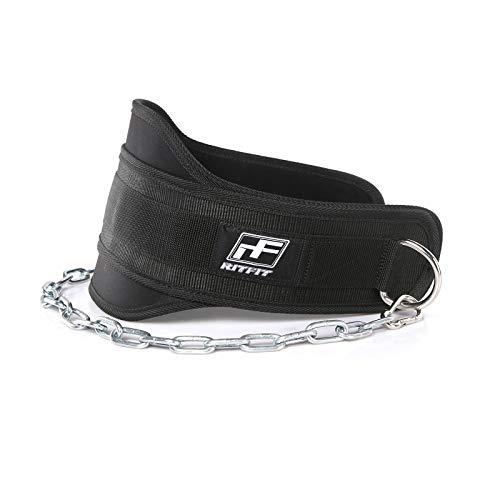 RitFit Premium 19,1 cm Dip-Gürtel mit 96,5 cm verstärkter Kette für Gewichtheben, Trizeps-Dips, Kinn + gewichtete Klimmzüge, Schwarz, maximieren Sie Ihr Gewichtheben und Bodybuilding Workouts