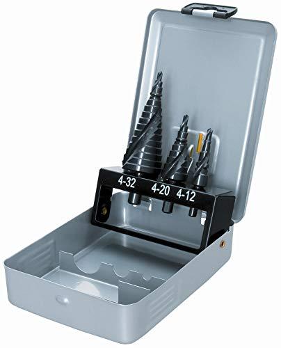 Proteco-Werkzeug® HSS Titan TIN TiALN Profi Stufenbohrer Set Konusbohrer Schälbohrer Metallbohrer Satz 3-tlg.