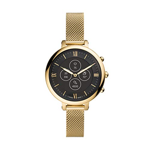 Fossil Women's Monroe Stainless Steel Mesh Hybrid HR Smartwatch, Color: Gold (Model: FTW7038)