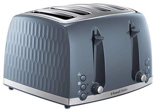 Russell Hobbs 26073 4 Slice Toaster - Contemporary Honeycomb Design with Extra Wide Slots and High Lift Feature, Grey
