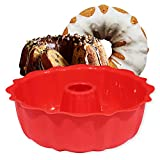 European Grade Top-Level Silicone Cake Mold, Aokinle Non Stick 9 inch Fluted Tube Cake Pan for Jello,Gelatin, Silicone Baking Molds for Cakes, Round Baking Pan, BPA Free Bakeware