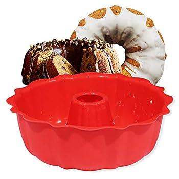 European Grade Top-Level Silicone Cake Mold Aokinle Non Stick 9 inch Fluted Tube Cake Pan for Jello,Gelatin Silicone Baking Molds for Cakes Round Baking Pan BPA Free Bakeware