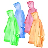 Ponchos for Kids, FISHOAKY Disposable Rain Ponchos for Boy and Girl, Multi-Colored Raincoat for...