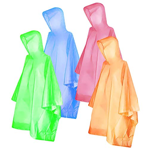 Ponchos for Kids, FISHOAKY Disposable Rain Ponchos for Boy and Girl, Multi-Colored Raincoat for Camping Hiking Traveling Backpacking, 4 Pack