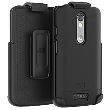 Motorola Droid Turbo 2 Belt Case Encased Ultra Thin  2016 SlimShield Edition  Secure-fit Holster Clip & Tough Cover  Smooth Black