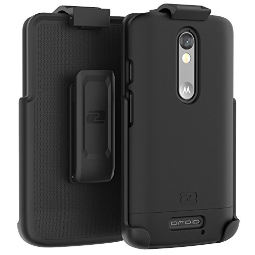 Motorola Droid Turbo 2 Belt Case, Encased Ultra Thin (2016 SlimShield Edition) Secure-fit Holster Clip & Tough Cover (Smooth Black)