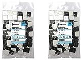 intervisio 100 Pièces Embases Adhesive pour Attache de Cable, 19mm x 19 mm, Noir, Serre-Câbles Auto Adhésif, Support de Serre Câble Plastique, Embase pour Collier de Serrage