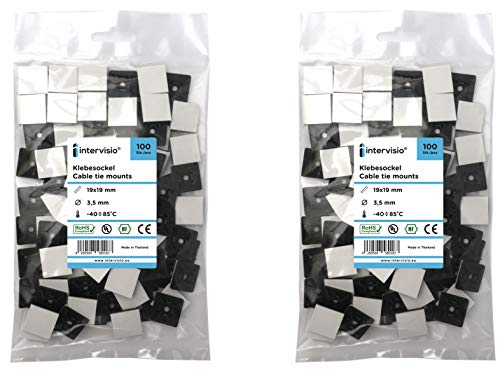 intervisio Klebesockel für Kabelbinder 19 mm x 19mm Montagesockel Kabelbinderhalter Set Schraubsockel Selbstklebend Kabelschelle Klebepads Kabelhalter, schwarz, 200 Stück