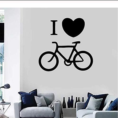 Me encanta bicicleta etiqueta de la pared bicicleta estática bicicleta vinilo etiqueta de la ventana jinete dormitorio estadio decoración interior creativo corazón mural 57x57 cm
