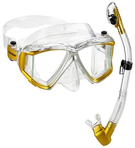Cressi Italian Designed Liberty Quattro Panoramic View Tempered Glass Lens Premium Scuba Snorkeling Mask Dry Snorkel Set, CLGL