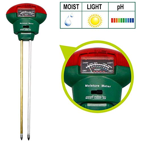 Check Out This Soil Testers, Soil Moisture Meter 3-in-1 Easy-to-Read Soil Moisture pH Light Test Kit...