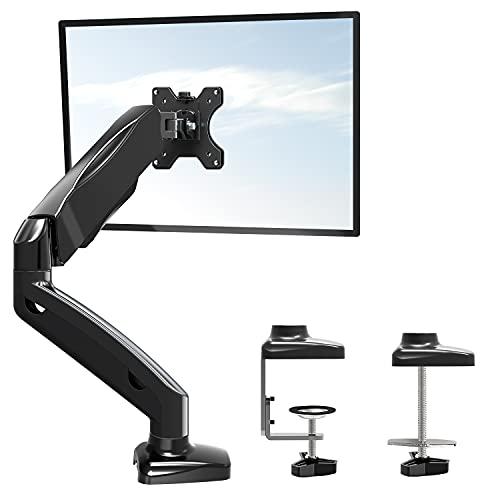 Amazon Brand – Eono Monitor Halterung Einarm, Monitorhalterung mit ergonomischer Befestigung, Monitor Arm aus Gasdruckfeder, Tischhalterung für Monitore, Bildschirme bis zu 27 Zoll, PL03