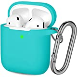 Hamile Compatible with AirPods Case [Front LED Visible] Soft Silicone Protective Cases Cover Skin Designed for Apple AirPod 2 & 1, Women Men, with Keychain (Teal)