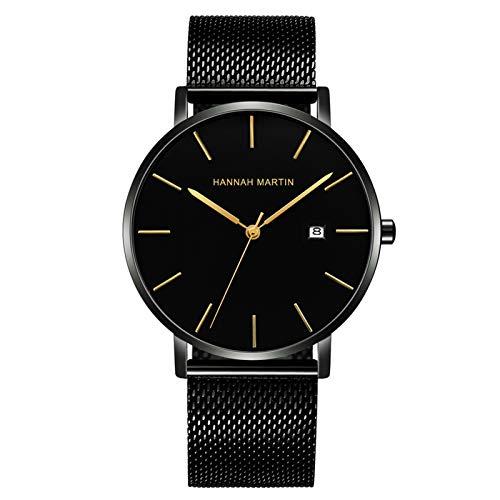 YQCH Reloj de Pulsera Minimalista de Moda para Hombres Fecha analógica con Banda de Malla de Acero Inoxidable (Color : A)