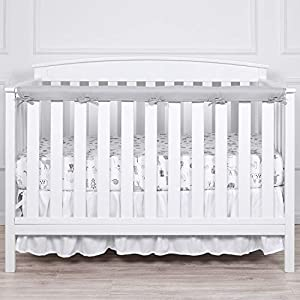 TILLYOU 1-Pack Padded Baby Crib Rail Cover Protector Safe Teething Guard Wrap for Long Front Crib Rails(Measuring Up to 8″ Around), 100% Silky Soft Microfiber Polyester, Reversible, White/Pale Gray