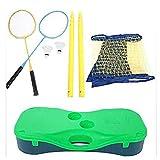 Dongbin Portable Badminton Tennis Net Standard Hauteur 1,55M Pvcwith Stand, La Grille Peut Être Déplacé Facilement Et Le Standard Pliant,Jaune