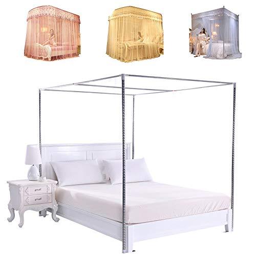 Moskitonetz für Doppelbetten, Babybett Fliegennetz Edelstahl Gestell Großes Mückennetz Baldachin Rahmen Bettüberdachung Betthimmel Halterung für Vier eckbett/einzelbett/California King (1.0m*2.0m)