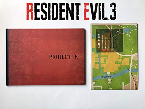 """Biohazard RE:3 (Resident Evil 3) Collector's Edition Art Book'Project: N"""" & """"Project: R"""" Hardcover & Raccoon City Map Poster Set"""