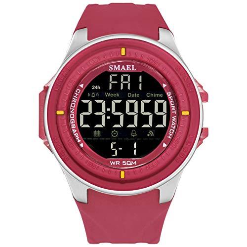 QZPM Relojes Outdoor Deportivos para Hombre, con Retroiluminación Y Alarma Resistente Al Agua Digital Multifuncional Grande De La Cara Militar Relojes Electrónicos,Rojo