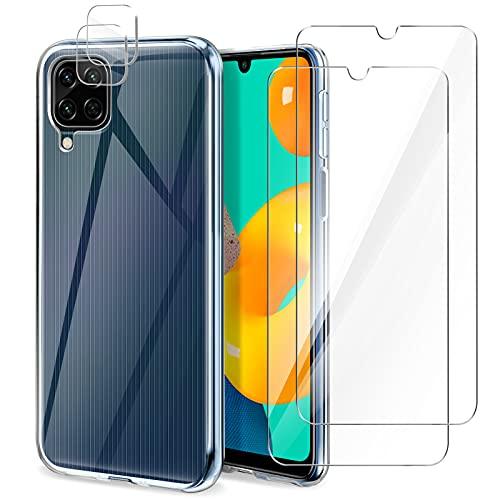 "YIRSUR Funda Compatible con Samsung Galaxy M32 4G 6.4"", Carcasa con 2 Pack Protector de Pantalla y 2 Pack Protector de Lente de Cámara, Suave TPU Silicona Anti-Choque Case Cover - Transparente"