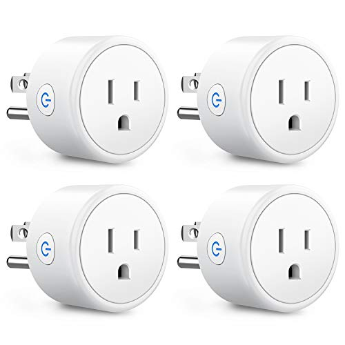 Smart Plugs That Work with Alexa Echo Google Home for Voice Control, Aoycocr Smart Home Mini WiFi Outlet with Timer Remote Control Function, No Hub Required, ETL FCC Listed 4 Pack, 2.4GHz Network