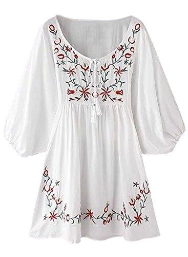 FUTURINO Damen Sommerkleid Bohemian Stickerei Floral Tunika Shift Bluse Flowy Minikleid,03 Weiße,L
