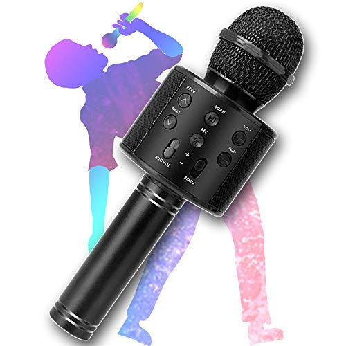 Wireless Karaoke Microphone, KINDRM Multifunction Portable Handheld Bluetooth Mic Home Party Singing Machine Speaker System, Best Gifts for Kids, Girls, Boys, and Adults (Black)