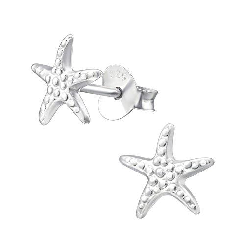 monkimau 925plata estrella de mar Pendientes niños de joyas mujer mujeres chica de pendientes Maritim Regalos