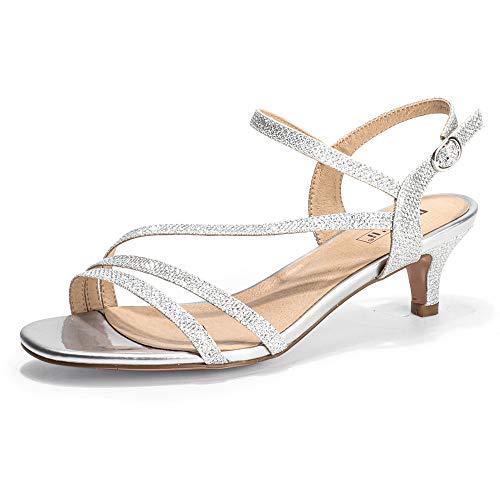 IDIFU Women's Strappy Heels Sandals 2 Inch Low Kitten Heel Open Toe Ankle Strap Wedding Bride Dress Shoes(Silver Glitter, 6.5)