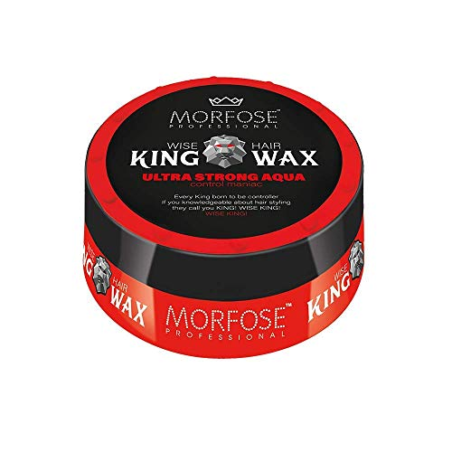 Morfose King Hair Wax 175ml Haarwachs Mad,Lion,Wise,Dark,Brave Haargel Matt Gel-Wax Haar Styling (1x Ultra Strong Aqua (Rot))