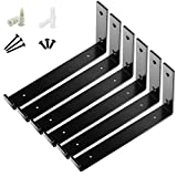 """7 8 wooden plugs - BATODA Lip Shelf Brackets 8"""" x 6"""" (6pcs)- Floating Shelf Bracket - Heavy Duty Hook Brackets for Shelves - Wall Mounted Support with Lip for DIY Open Shelving –Screws and Wall Plug Included"""