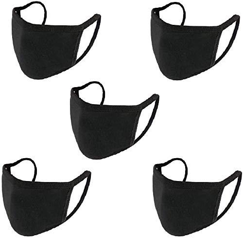 Face Masks 5 Pack GEMAN Dust Mouth Cotton Masks Washable Fashion Reusable Black Masks for Women/Men /Teens