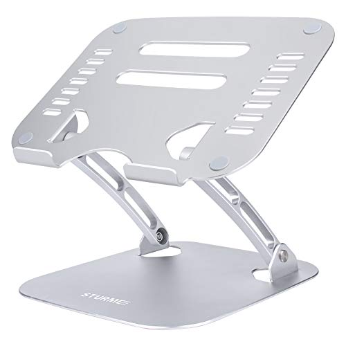STURME Laptop Stand, Aluminum Adjustable Laptop Riser Holder Foldable Notebook Stand for Desk Heat-Vent Non-slip Compatible with MacBook Air Pro, All 11-15.6 Inches Laptop